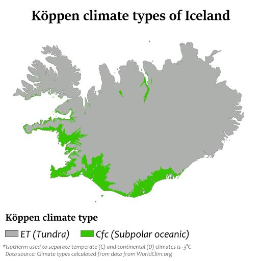 アイスランドのケッペン気候区分の図