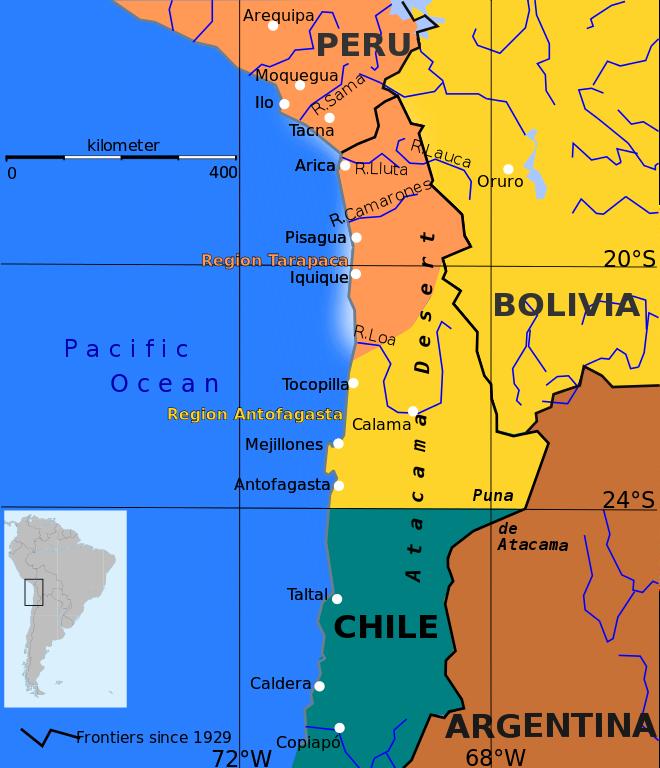 太平洋戦争(硝石戦争)前の国境