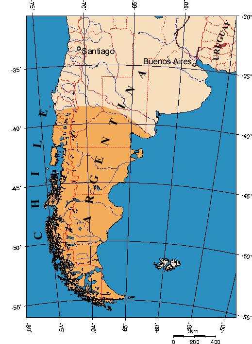 パタゴニアの地図