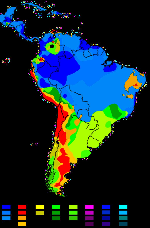 南米のケッペン気候区分図