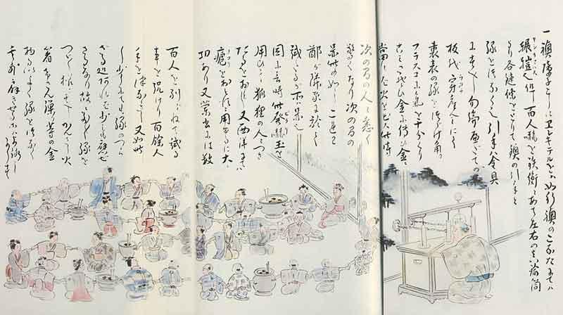 橋本宗吉著「阿蘭陀始制エレキテル究理原」のエレキテルによる百人怯え実験の絵