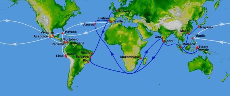 16世紀のスペインとポルトガルの交易路