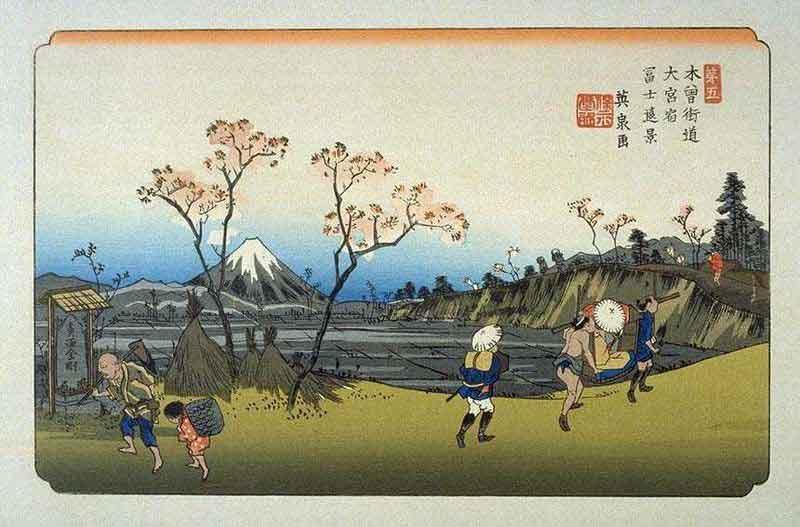 木曽街道大宮宿の浮世絵