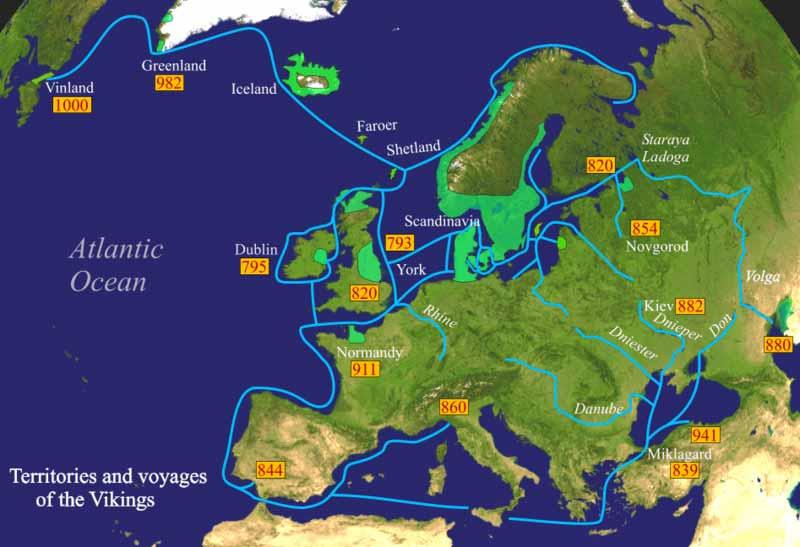 バイキングの定住区画と航海図