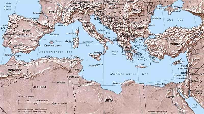 地中海の地図
