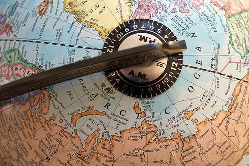 地球儀上の北極海